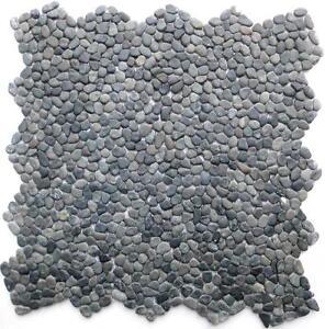 1 netz mini kiesel mosaik fliesen schwarz naturstein - Flusskiesel fliesen ...