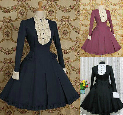 Ladies Ruffles Turndown Collar Long Sleeve Cosplay Lolita Dress Outfits Costume