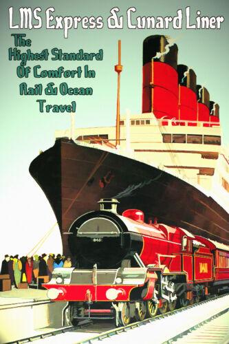 LMS Railroad CUNARD Lines British Ship Ocean Liner Travel Poster Art Print 197