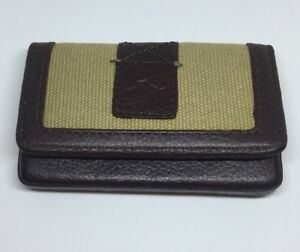 TOMMY-BAHAMA-FRONT-POCKET-KHAKI-BROWN-CANVAS-LEATHER-CARD-WALLET-NEW-IN-GIFT-BOX