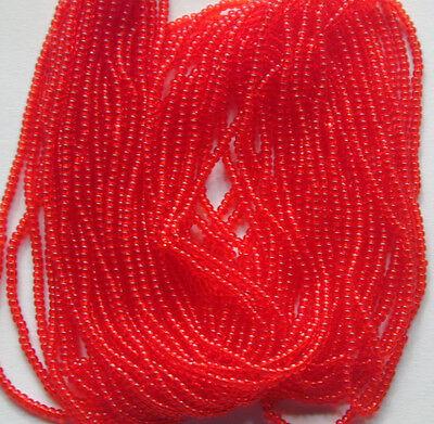 Vintage Scarlet Red-Orange Transparent Round Glass Seed Beads Long Hank 16bpi