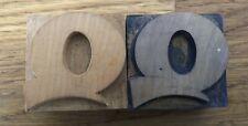 Letter Q Wood Letterpress Print Type Printers Block Lot Of 2