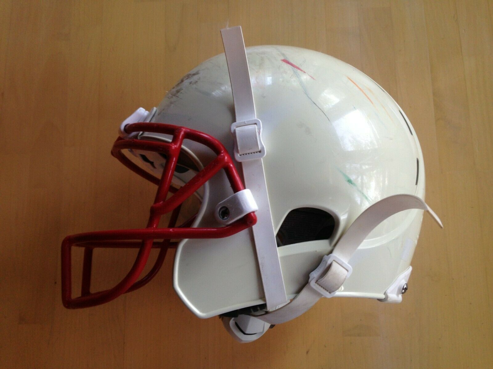 Xenith X1 Youth Football Helmet, White w Red Facemask, Large