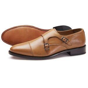 Samuel-Windsor-Zapatos-Para-Hombre-Correa-Doble-Monje-tan-Prestige-Leather-UK-Tamanos-5-14-Nuevo