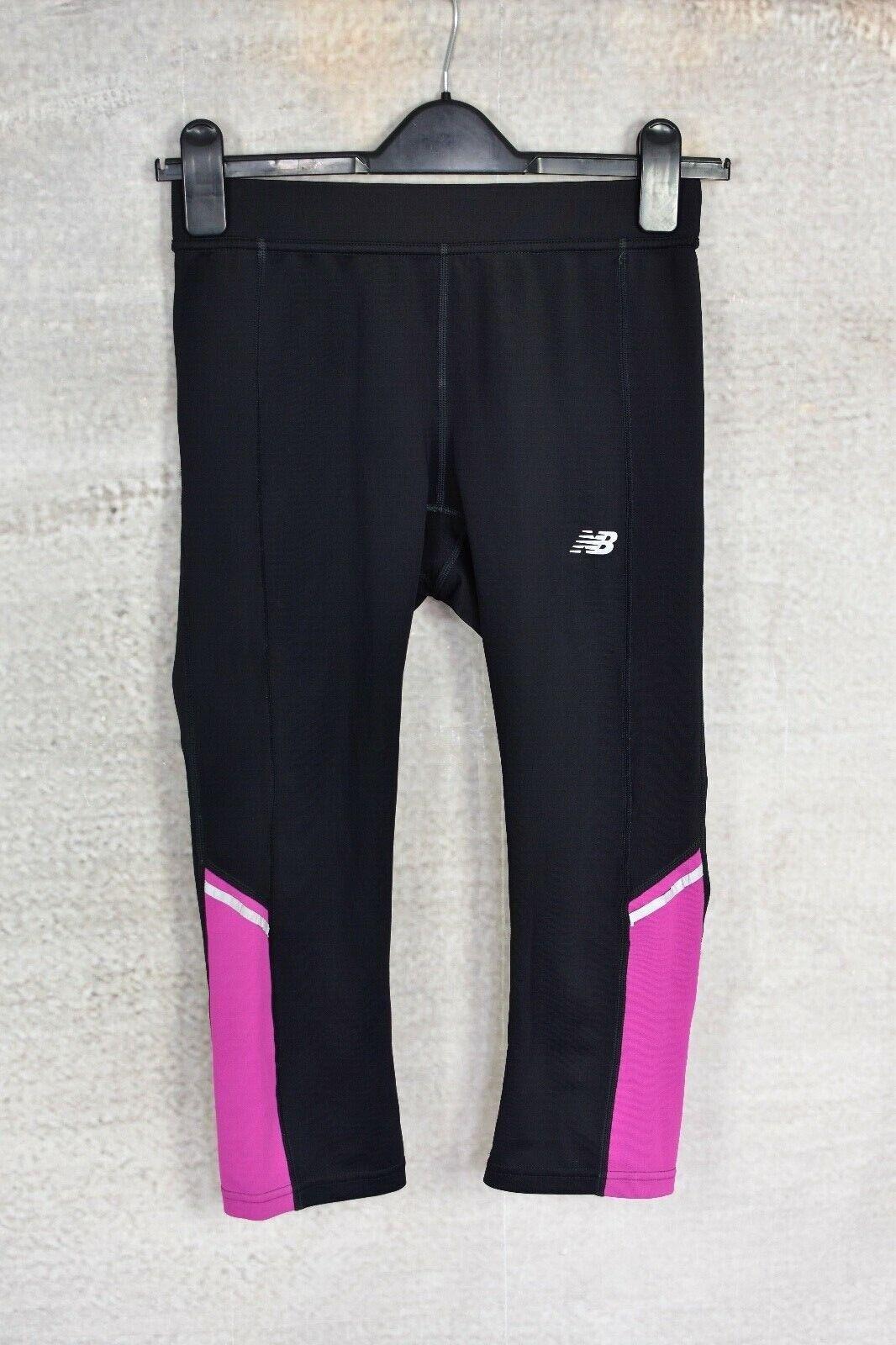 NEW BALANCE Black & Purple cropped leggings SMALL 8