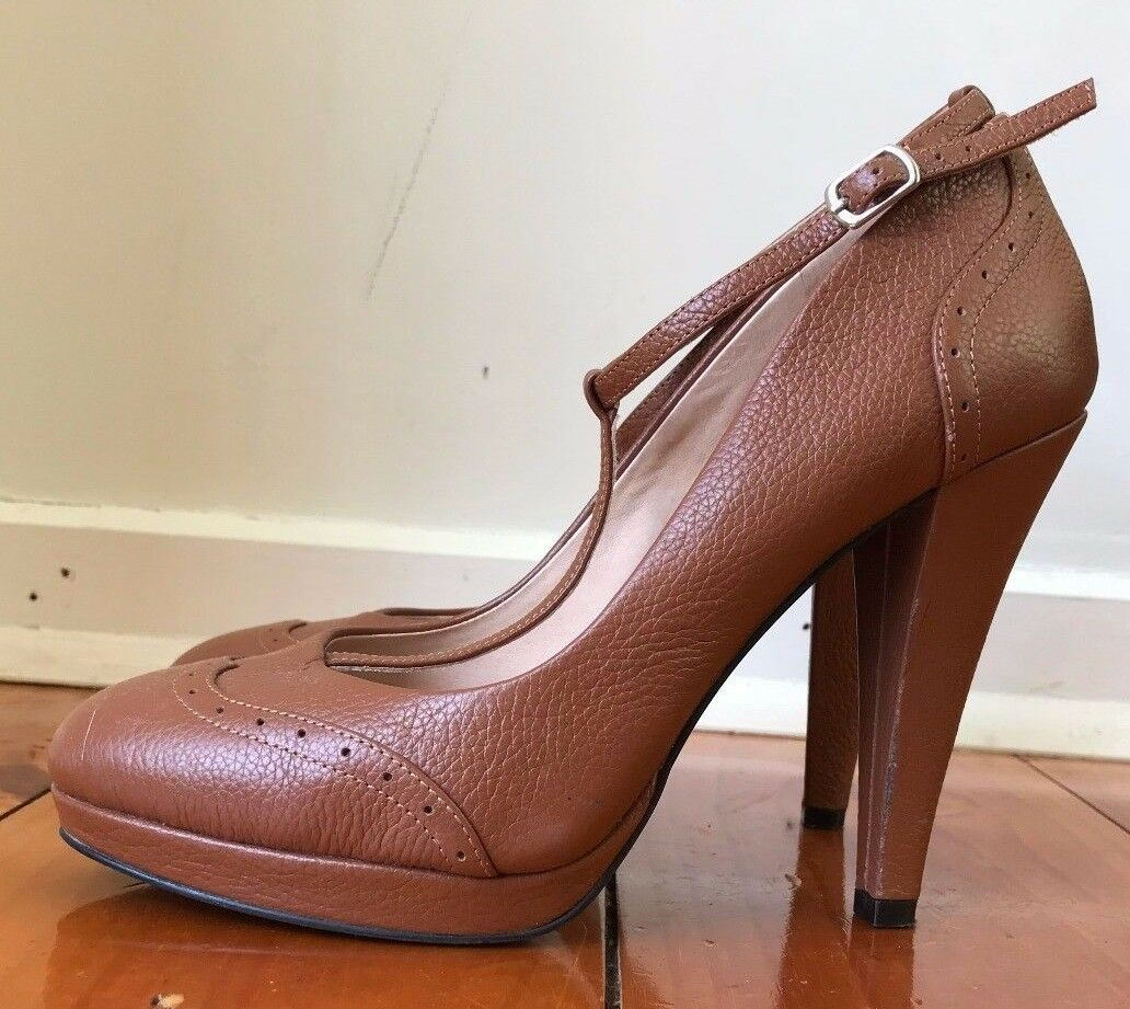 Schuhes of Prey High Tan Braun T Bar 8/EU Platform Leder Heels. US 8/EU Bar 39 Wide (C). 325f6b