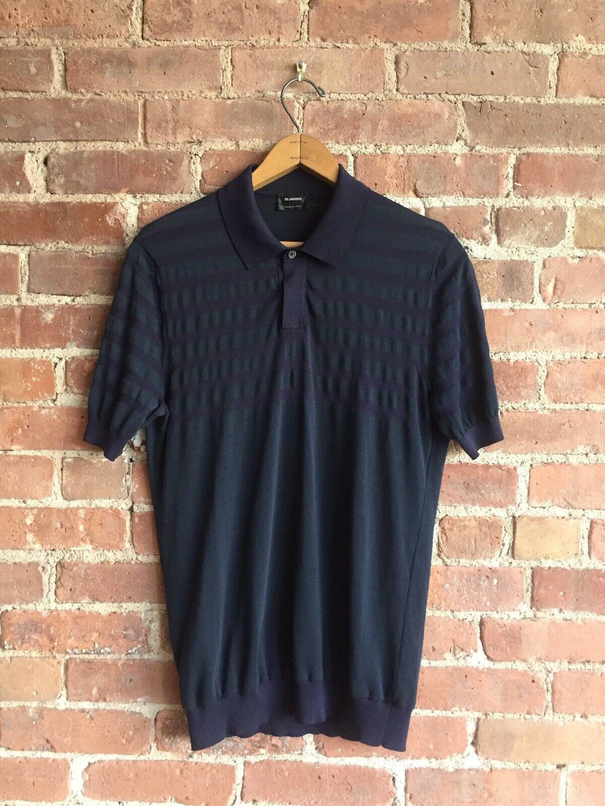 Jil Sander Men's Polo Sz M , bluee On bluee Stripe Knit