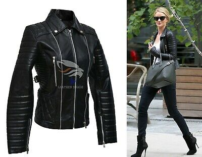 Rosie Huntington Whiteley Black Women Leather Quilted Jacket