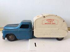 VINTAGE 1950 BLUE PRESSED STEEL HYDRAULIC STRUCTO SANITATION TRUCK