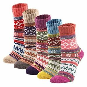 Image result for YZKKE 5Pack Womens Vintage Winter Soft Warm Thick Cold Knit Wool Crew Socks, Multicolor, free size