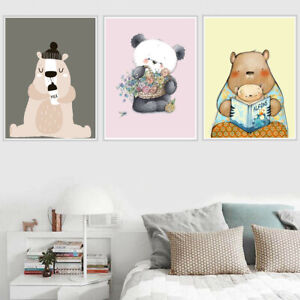 Details About Nordic Cartoon Cute Bear Canvas Painting Poster Baby Children S Room Wall Decor