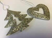 2 x Silver Glitter Tree Decorations Heart Hanging Christmas Metal Vintage