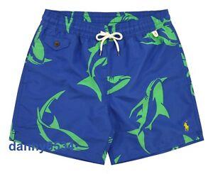 ae4005df13 Men's Polo Ralph Lauren Traveler Shark Print Blue Swim Trunks Beach ...