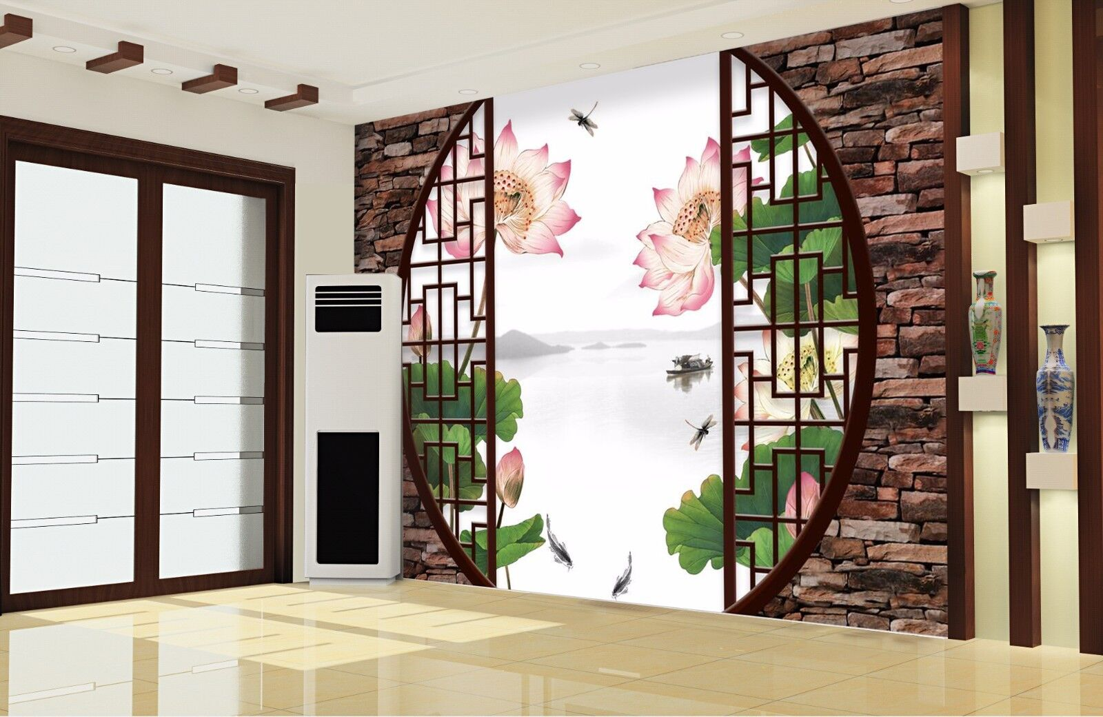 3D Garden Lotus 835 Wallpaper Mural Paper Wall Print Wallpaper Murals UK
