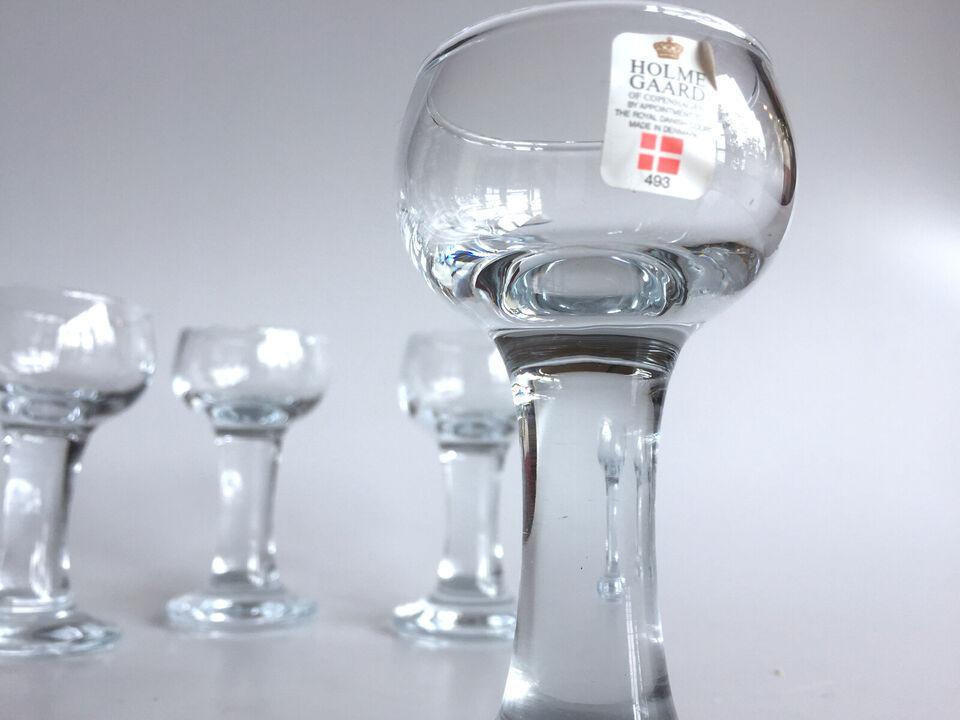 En samling Holmegaard Kroglas / snapsglas