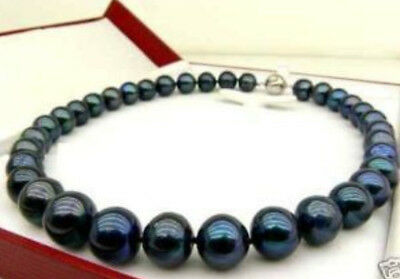 GENUINE 10-11 MM SOUTHSEA BLACK PEARL NECKLACE 18 INCH AAA+