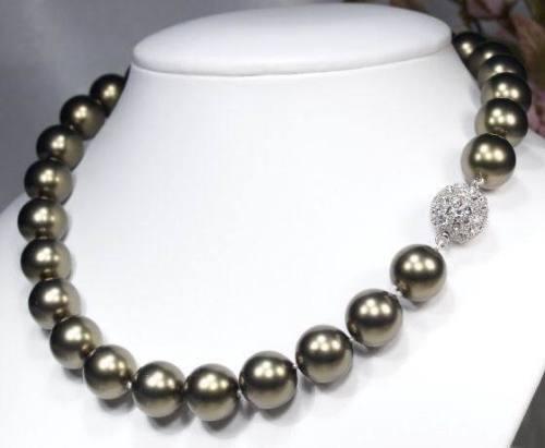 LUXUS TahitiGreen Muschelkern Perlen Kette Weissgold plattiert (Gk7)