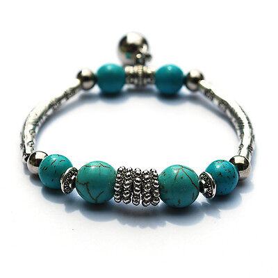 Nice Imitate Tibetan Silver Turquoise Bead Stretchy Chain Bracelet  Bangle