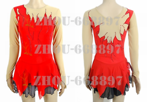 Competition-Figure-Skating-Dress-Girls-deep-v-Custom-Spandex-Training-red