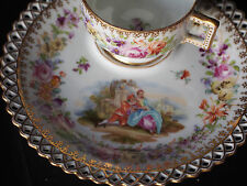 RARE Antique Dresden Hirsch FIGURAL Handpainted Snack Reticulated Cup & Plate FC