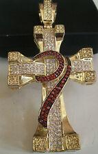 Men's Gold Finish Hip Hop Bling  CZ Cross Religious Fashion Pendant