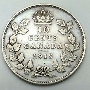 1919 Canada Ten 10 Cents Circulated Silver Dime Canadian Coin D403 Ebay