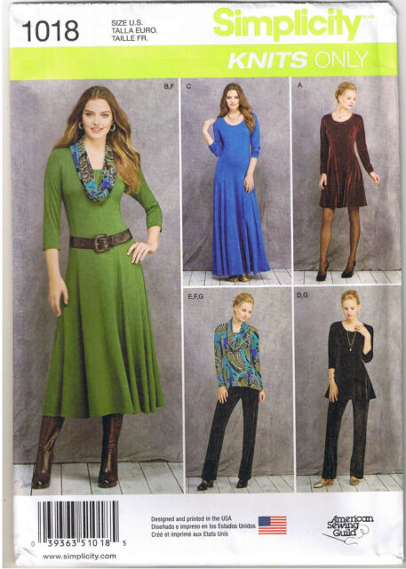 Simplicity S0311 Sew Pattern Knit Only Short Midi Dress Tunic High ...