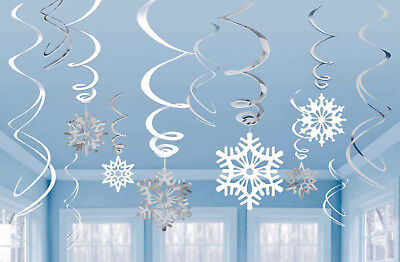 Pack Of 6 Hanging Snowflake Swirl Decorations For Frozen Themed Parties DP196