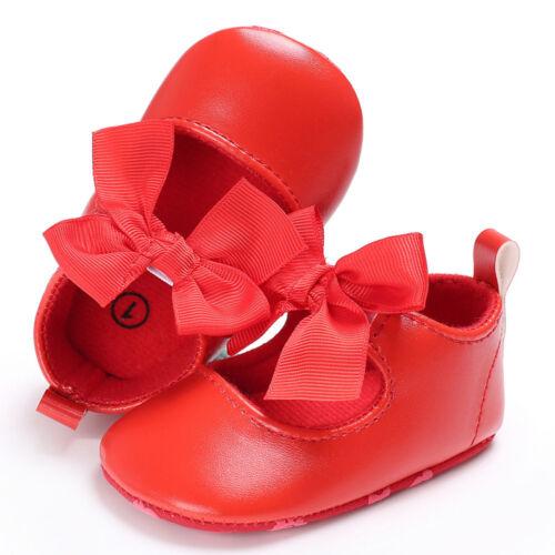 New Toddler Baby Girl Princess Soft Shoes Leather Moccasins Anti-slip Prewalker