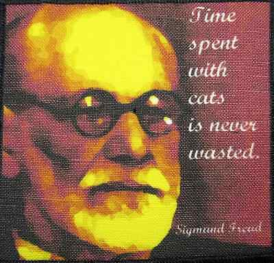Printed Patch He Loved His Cats SIGMUND FREUD QUOTE T-Shirt Bag Sew On