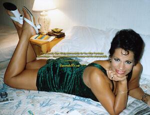 Vanessa-del-Rio-ADULT-Film-Actress-Hotel-Bed-Legs-Up-GrnDress-Sign-Aft-Buy-w-COA