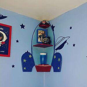 Image Is Loading Rocket Ship E Themed Bedroom Corner Shelf Shelves