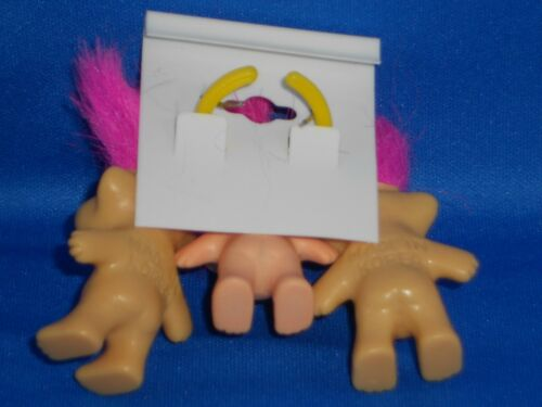 Vintage Pink Hair Good Luck Troll Doll Earrings and Ring 3pc set LUCKY TROLL
