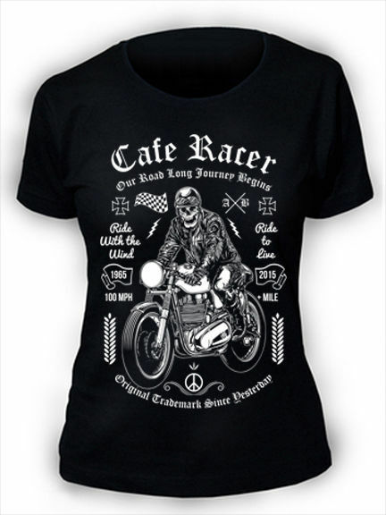 BIKER LADY T-SHIRT SCHWARZ //// Motorrad Caferacer Cafe Racer Scrambler Damen Frau