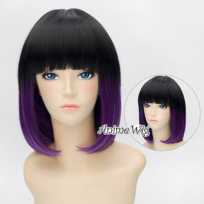 30cm Black Mixed Purple Straight Women Lady With Bang Style Cosplay Hair Wig