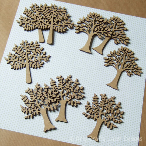 Wooden MDF Mini Family Tree Craft Blank Pack Laser Cut 9 Trees