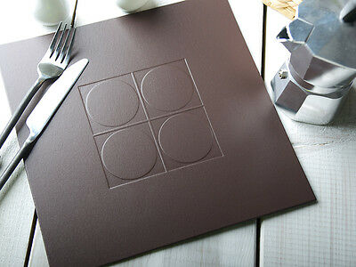 Set of 4 BROWN Embossed SQUARE PLACEMATS Leatherboard