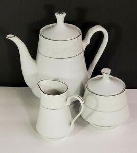Jian-Shiang-Crown-Ming-Fine-China-Sugar-Creamer-Teapot-Whtie-Crochet-Silver-Trim