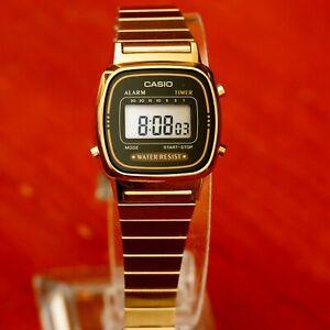 Casio-LA670WGA-1-Ladies-Digital-Watch-Gold-Steel-Band-and-Black-Dial-Retro-New
