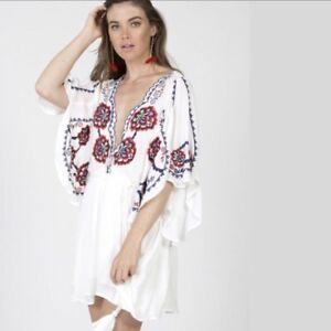 90a22040da23 Image is loading Free-People-Cora-Floral-Embroidered-White-Tunic-Dress-