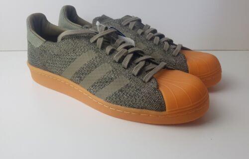 Adidas Superstar années 80 Primeknit Cargo Vert Gomme Baskets Homme Taille UK 9 RARE