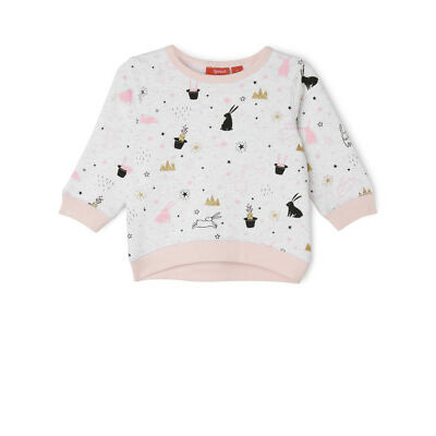 NEW Sprout Girls Essential Crew Neck Sweat - Bunny Aop/ Grey Marle
