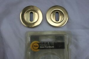 2 Door Lock Keyhole Escutcheon Pairs Duo Satin /& Polished Chrome Finish