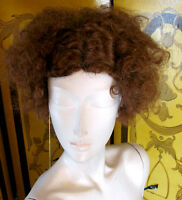Fashion Source Ladies Light Brown Curly Hair Wig With Parted Detail Retro Look