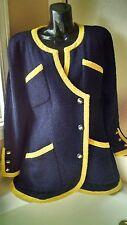 $4K CHANEL 44 10 12 Blue Boucle Tweed 9 CC Logo Button 1998 Vintage Dress Coat