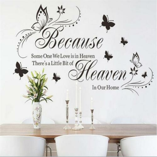 Because Someone we Love is in Heaven Wall Art Stickers Bedroom Quote Decal RU