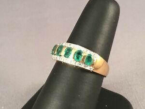 Stunning-Ladies-9ct-Gold-Ring-Set-with-5-Emeralds-amp-Diamonds-Size-P