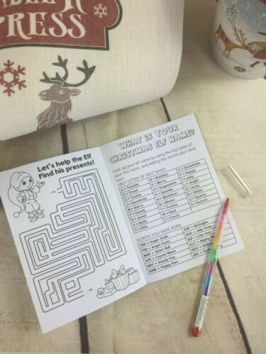 book with pencil Kids Personalised Christmas Eve Activity Childrens Gift Pack