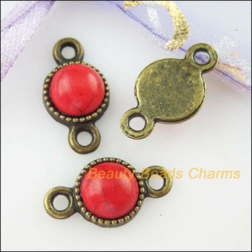 12 Charms Round Connectors Red Turquoise Antiqued Bronze Pendant Retro 10x18.5mm