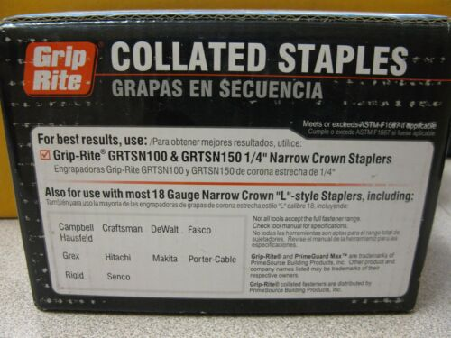 """5000 Pieces Grip Rite Collated Staples 18 Gauge /""""L/"""" Style 1//4 Crown Free Ship"""